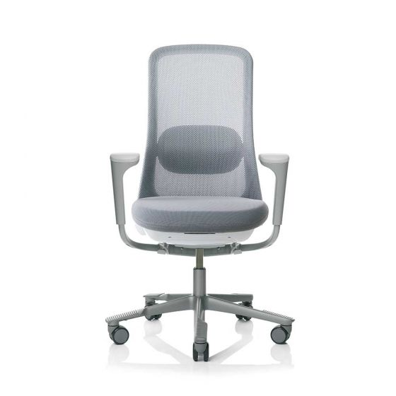 HAG SoFi 7520 Silver Frame Mesh High Back Task Chair - front view with arms