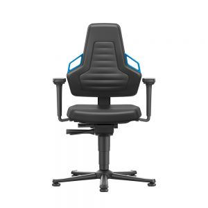Bimos Nexxit - Standard Height (450-600 mm), Permanent Contact Back, Glides - front view, with armrests and blue handles