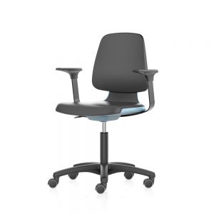 Bimos Labsit - Standard Height (450-650 mm), Castors - front angle view, with armrests and blue shell finish