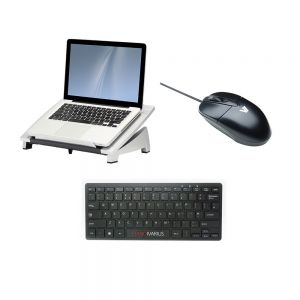 Office Suites™ Laptop Riser, Piano Mini Keyboard & V7 Optical Mouse