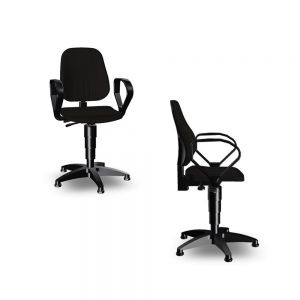 Bimos Unitec - Standard Height (440-620 mm), Glides - front angle and side views, with loop aremrests and artificial leather fabric